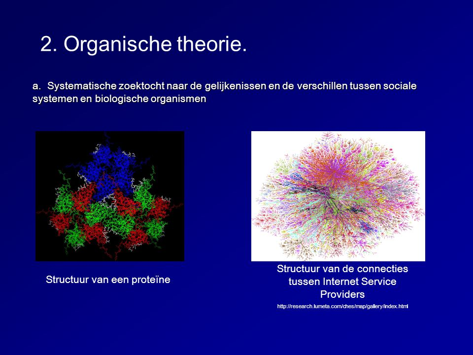 a. Systematische zoektocht naar de gelijkenissen en de verschillen tussen sociale systemen en biologische organismen 2. Organische theorie. Structuur