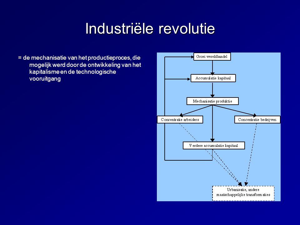 Industriële revolutie = de mechanisatie van het productieproces, die mogelijk werd door de ontwikkeling van het kapitalisme en de technologische vooru