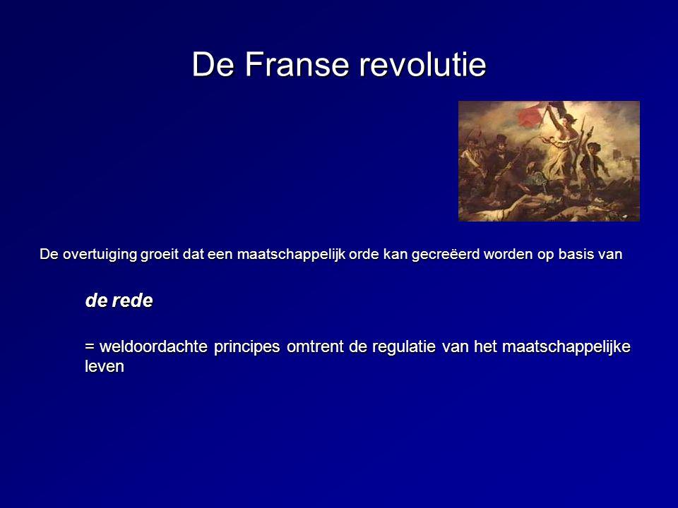 De Franse revolutie De overtuiging groeit dat een maatschappelijk orde kan gecreëerd worden op basis van de rede = weldoordachte principes omtrent de
