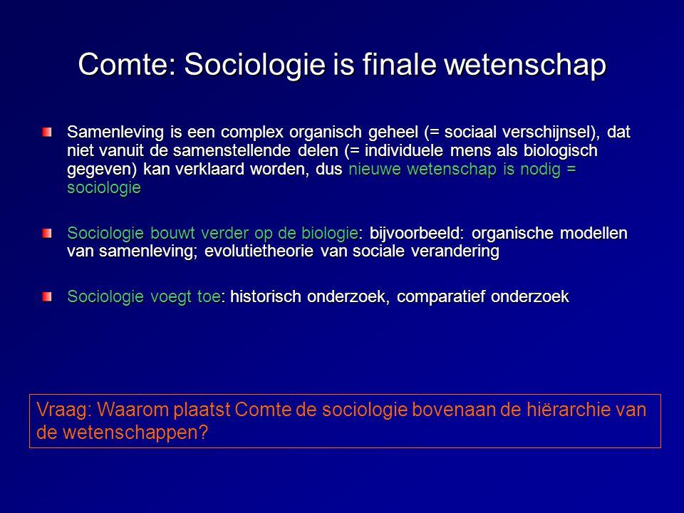 Comte: Sociologie is finale wetenschap Samenleving is een complex organisch geheel (= sociaal verschijnsel), dat niet vanuit de samenstellende delen (