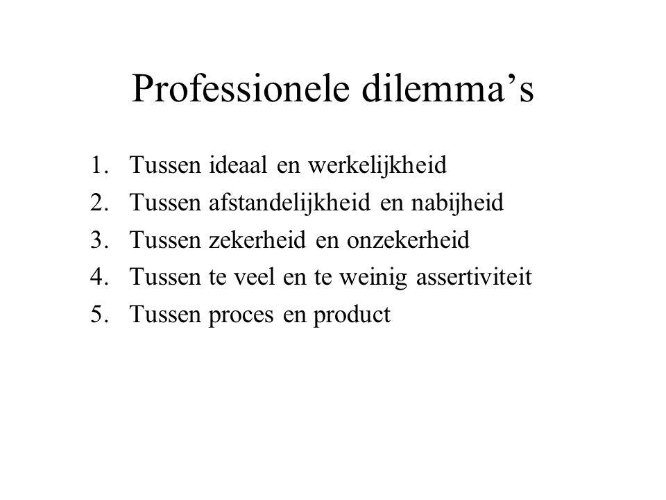 Professionele dilemma's 1.Tussen ideaal en werkelijkheid 2.Tussen afstandelijkheid en nabijheid 3.Tussen zekerheid en onzekerheid 4.Tussen te veel en