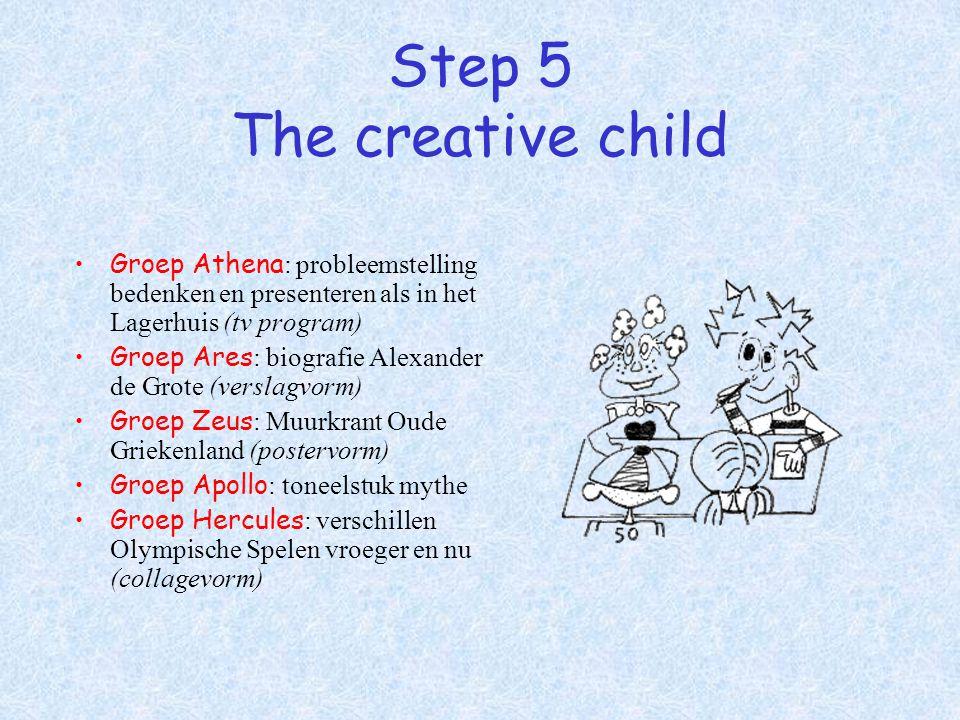 Step 5 The creative child Groep Athena : probleemstelling bedenken en presenteren als in het Lagerhuis (tv program) Groep Ares : biografie Alexander d