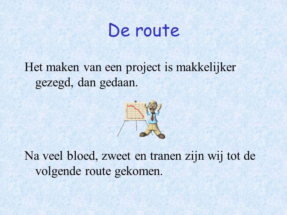 De route Het maken van een project is makkelijker gezegd, dan gedaan. Na veel bloed, zweet en tranen zijn wij tot de volgende route gekomen.