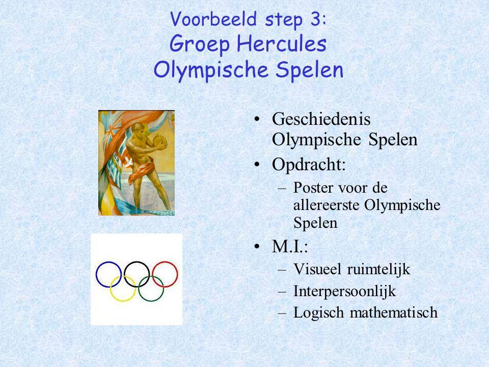 Voorbeeld step 3: Groep Hercules Olympische Spelen Geschiedenis Olympische Spelen Opdracht: –Poster voor de allereerste Olympische Spelen M.I.: –Visue