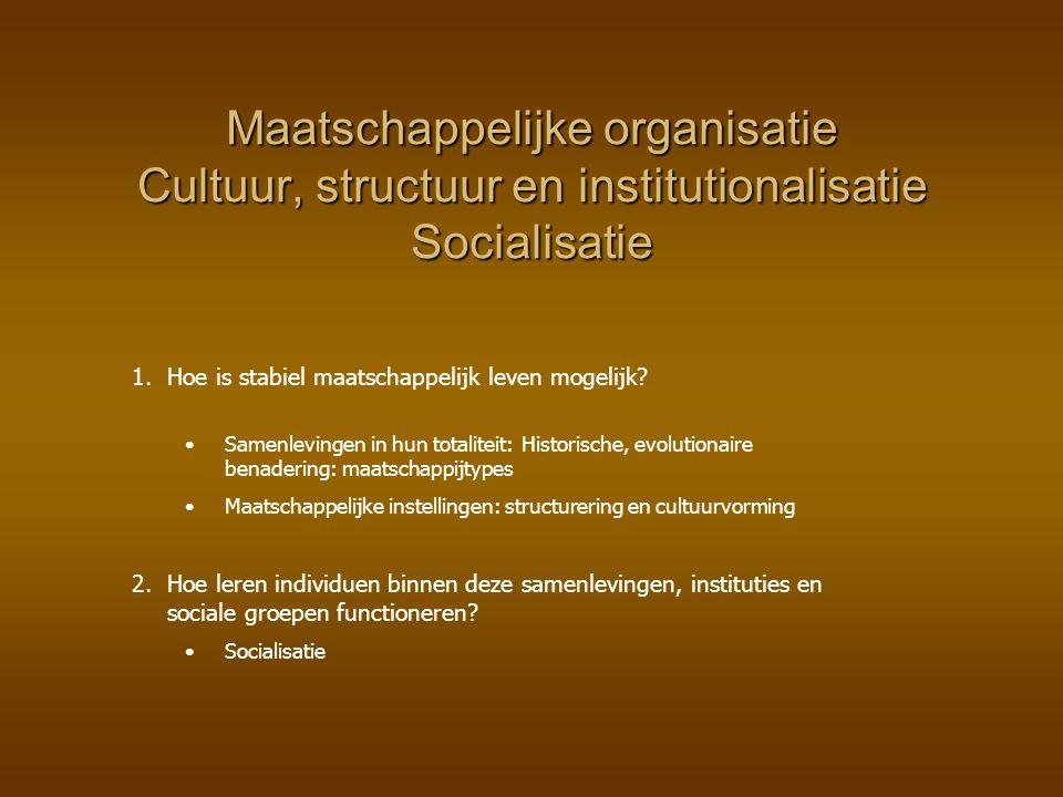 Maatschappelijke organisatie Cultuur, structuur en institutionalisatie Socialisatie 1. 1.Hoe is stabiel maatschappelijk leven mogelijk? Samenlevingen