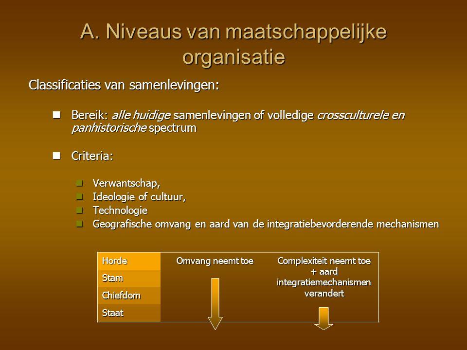 A. Niveaus van maatschappelijke organisatie Classificaties van samenlevingen: Bereik: alle huidige samenlevingen of volledige crossculturele en panhis
