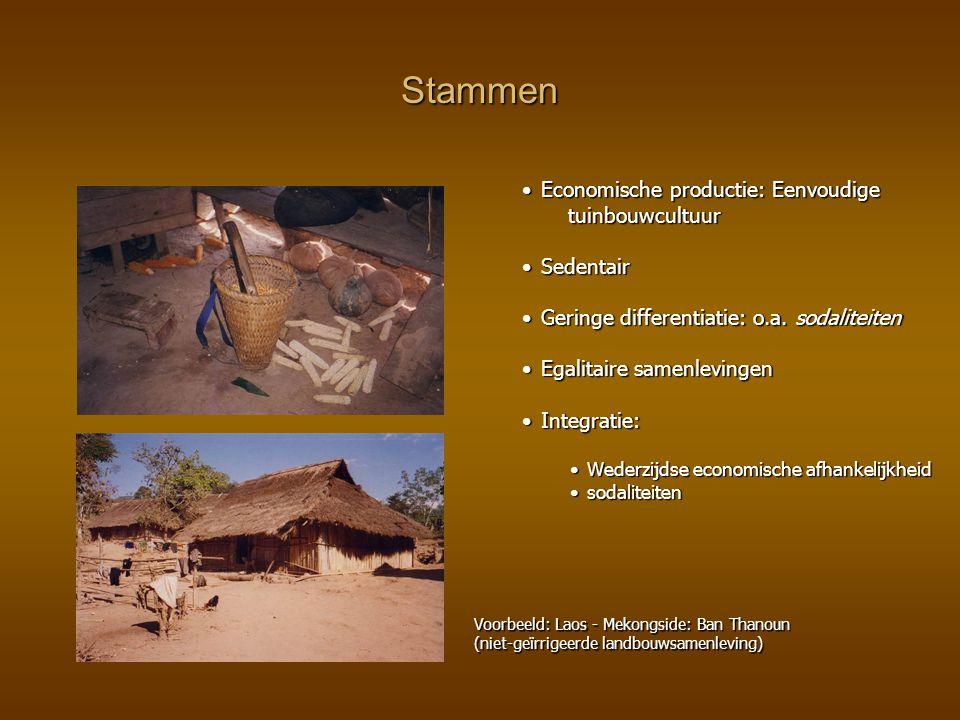 Stammen Economische productie: Eenvoudige tuinbouwcultuurEconomische productie: Eenvoudige tuinbouwcultuur SedentairSedentair Geringe differentiatie: