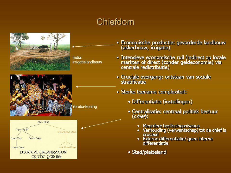 Chiefdom Economische productie: gevorderde landbouw (akkerbouw, irrigatie)Economische productie: gevorderde landbouw (akkerbouw, irrigatie) Intensieve