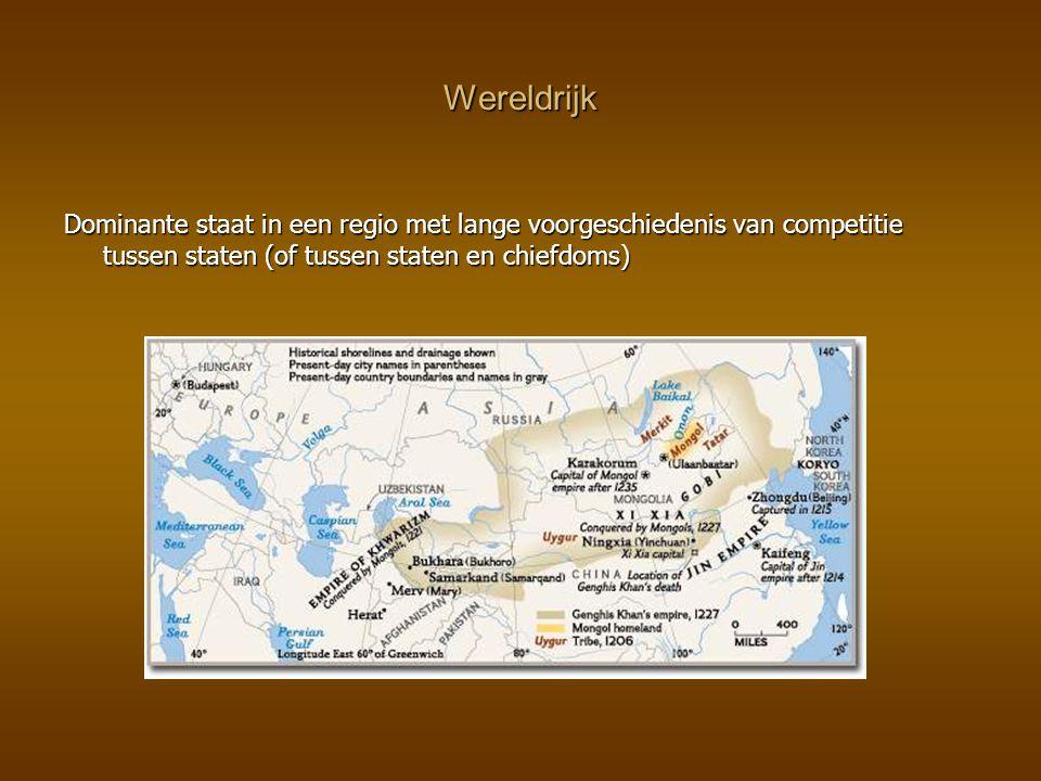 Wereldrijk Dominante staat in een regio met lange voorgeschiedenis van competitie tussen staten (of tussen staten en chiefdoms)