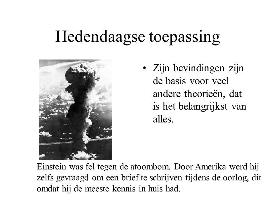 Hedendaagse toepassing Zijn bevindingen zijn de basis voor veel andere theorieën, dat is het belangrijkst van alles.
