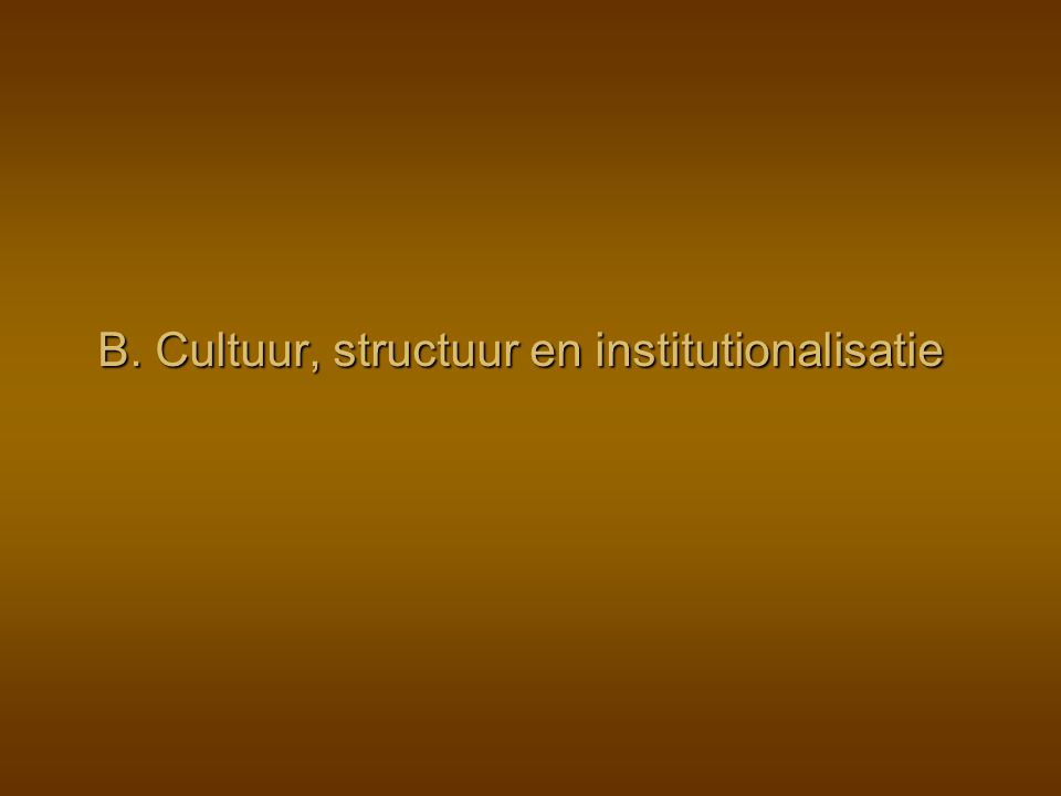 Mesosociaal niveau: maatschappelijke instellingen Vervullen van de taken en rollen, verbonden met maatschappelijke posities, binnen maatschappelijke instituties Individuele niveau Sociale structuur Relaties Posities Rollen Cultuur Verwachtingen, Normen Waarden … Institutionalisatie Cultuurvorming en structuurvorming Institutionalisatie Cultuurvorming en structuurvorming Socialisatie: sociaal leergedrag HordeStamChiefdomStaat Maatschappelijke organisatie Macrosociaal niveau: samenlevingen in hun totaliteit Instituties (Gezin, school, bedrijf, …)