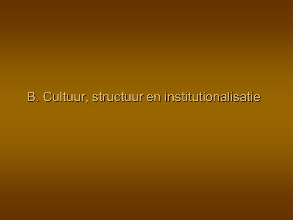 B. Cultuur, structuur en institutionalisatie