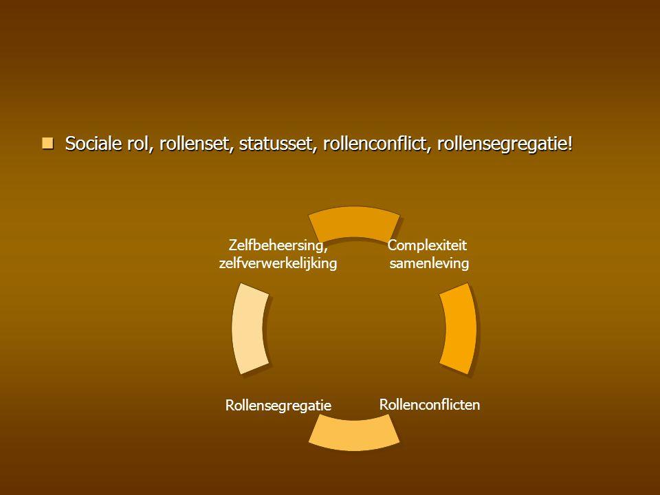 Sociale rol, rollenset, statusset, rollenconflict, rollensegregatie! Sociale rol, rollenset, statusset, rollenconflict, rollensegregatie! Zelfbeheersi
