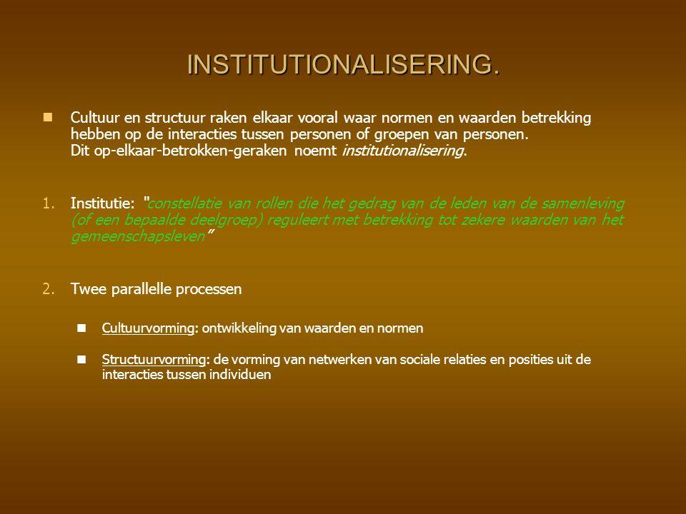 INSTITUTIONALISERING. Cultuur en structuur raken elkaar vooral waar normen en waarden betrekking hebben op de interacties tussen personen of groepen v