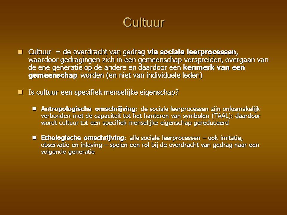 Cultuur Cultuur = de overdracht van gedrag via sociale leerprocessen, waardoor gedragingen zich in een gemeenschap verspreiden, overgaan van de ene ge