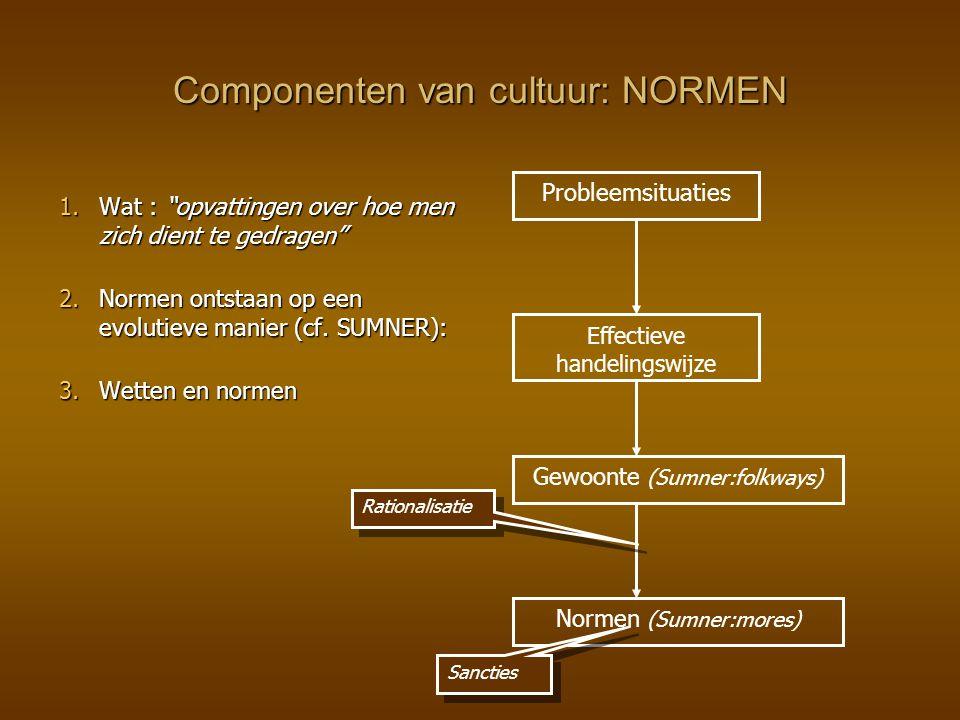 """Componenten van cultuur: NORMEN 1.Wat : """"opvattingen over hoe men zich dient te gedragen"""" 2.Normen ontstaan op een evolutieve manier (cf. SUMNER): 3.W"""