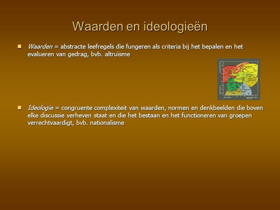 Waarden en ideologieën Waarden = abstracte leefregels die fungeren als criteria bij het bepalen en het evalueren van gedrag, bvb. altruïsme Waarden =