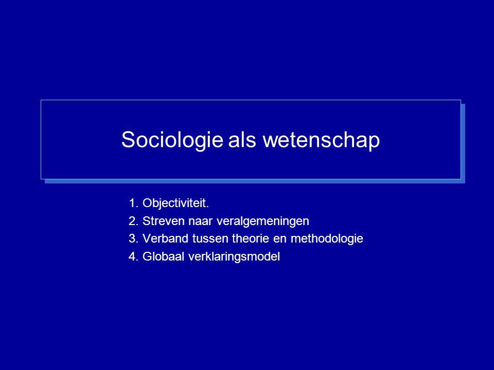 Sociologie als wetenschap 1. Objectiviteit. 2. Streven naar veralgemeningen 3. Verband tussen theorie en methodologie 4. Globaal verklaringsmodel