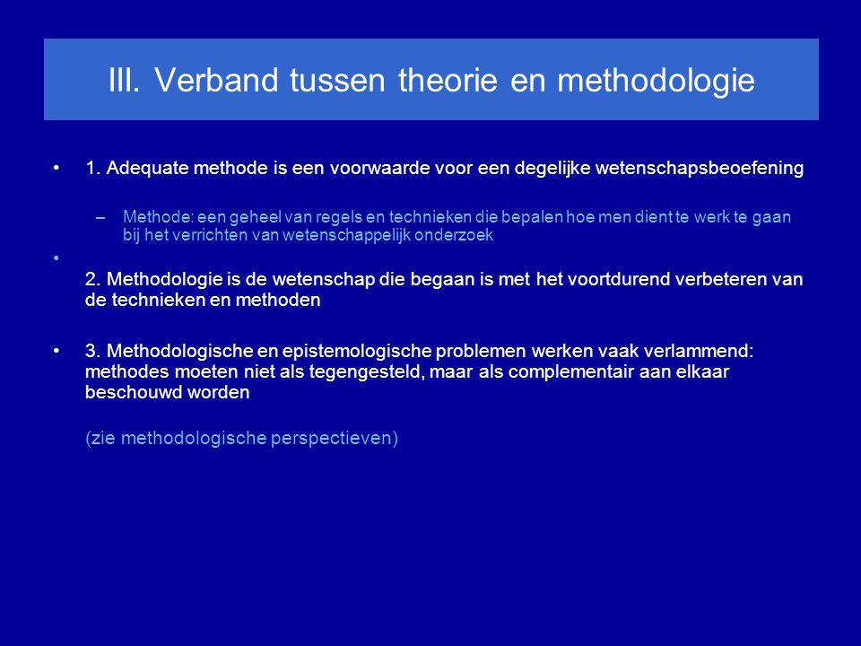 III.Verband tussen theorie en methodologie 1.