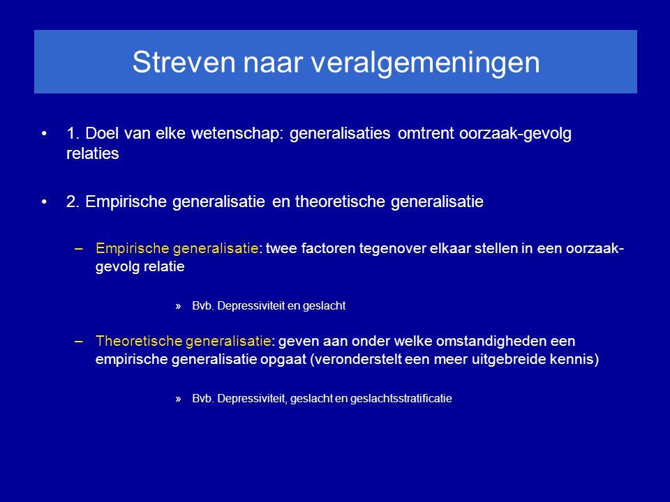 Streven naar veralgemeningen 1. Doel van elke wetenschap: generalisaties omtrent oorzaak-gevolg relaties 2. Empirische generalisatie en theoretische g