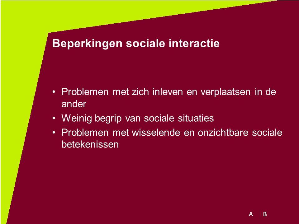 Beperkingen sociale interactie Problemen met zich inleven en verplaatsen in de ander Weinig begrip van sociale situaties Problemen met wisselende en o