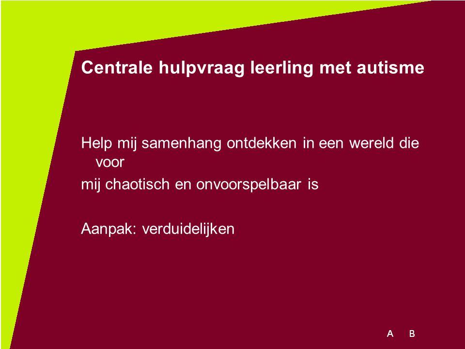 Centrale hulpvraag leerling met autisme Help mij samenhang ontdekken in een wereld die voor mij chaotisch en onvoorspelbaar is Aanpak: verduidelijken