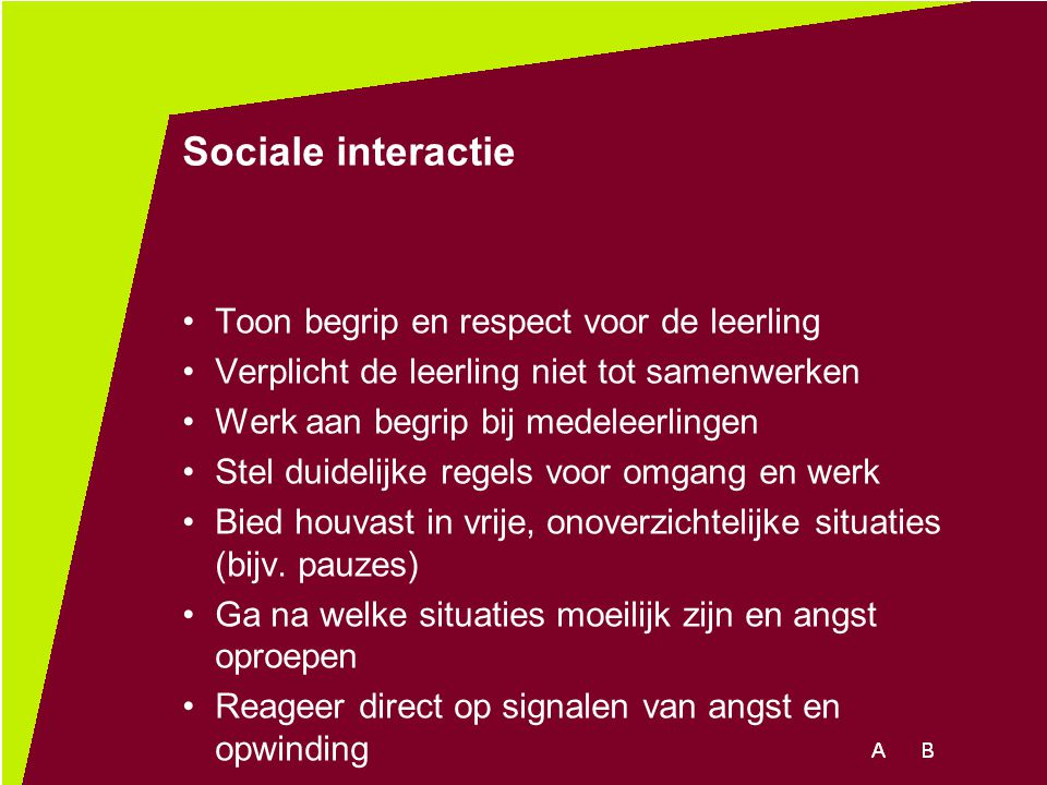 Sociale interactie Toon begrip en respect voor de leerling Verplicht de leerling niet tot samenwerken Werk aan begrip bij medeleerlingen Stel duidelij