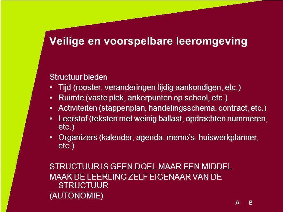 Veilige en voorspelbare leeromgeving Structuur bieden Tijd (rooster, veranderingen tijdig aankondigen, etc.) Ruimte (vaste plek, ankerpunten op school