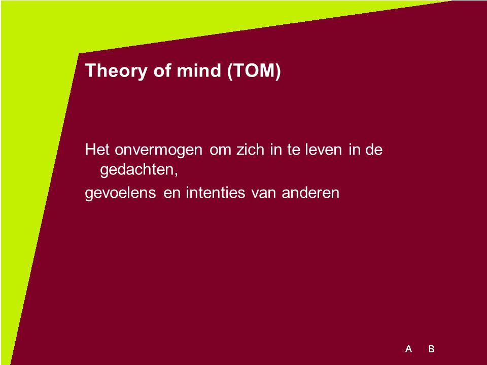 Theory of mind (TOM) Het onvermogen om zich in te leven in de gedachten, gevoelens en intenties van anderen