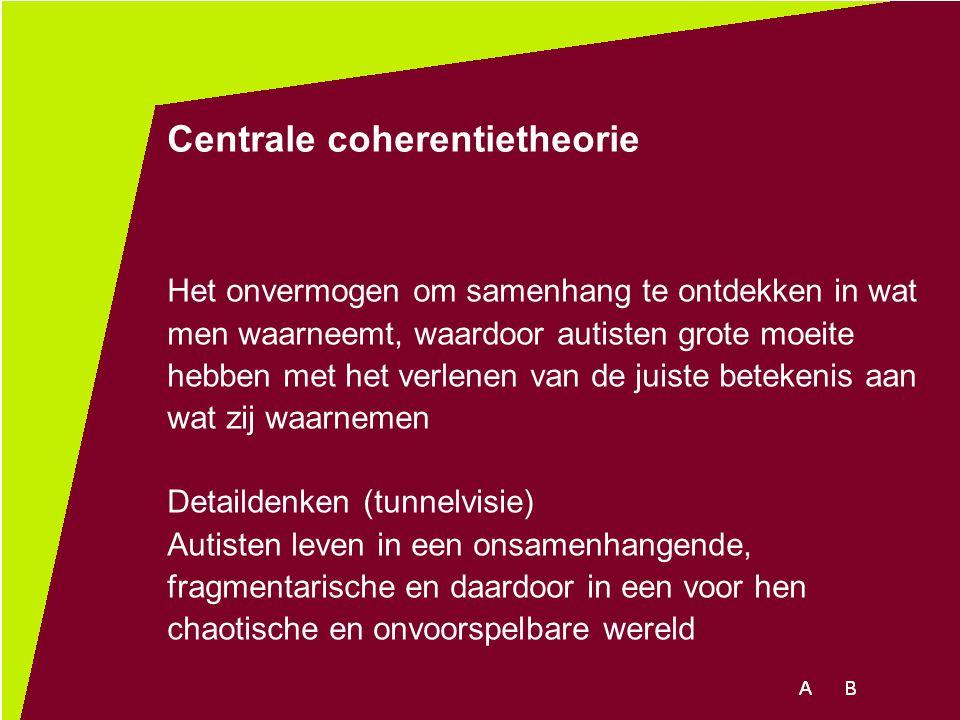 Centrale coherentietheorie Het onvermogen om samenhang te ontdekken in wat men waarneemt, waardoor autisten grote moeite hebben met het verlenen van d