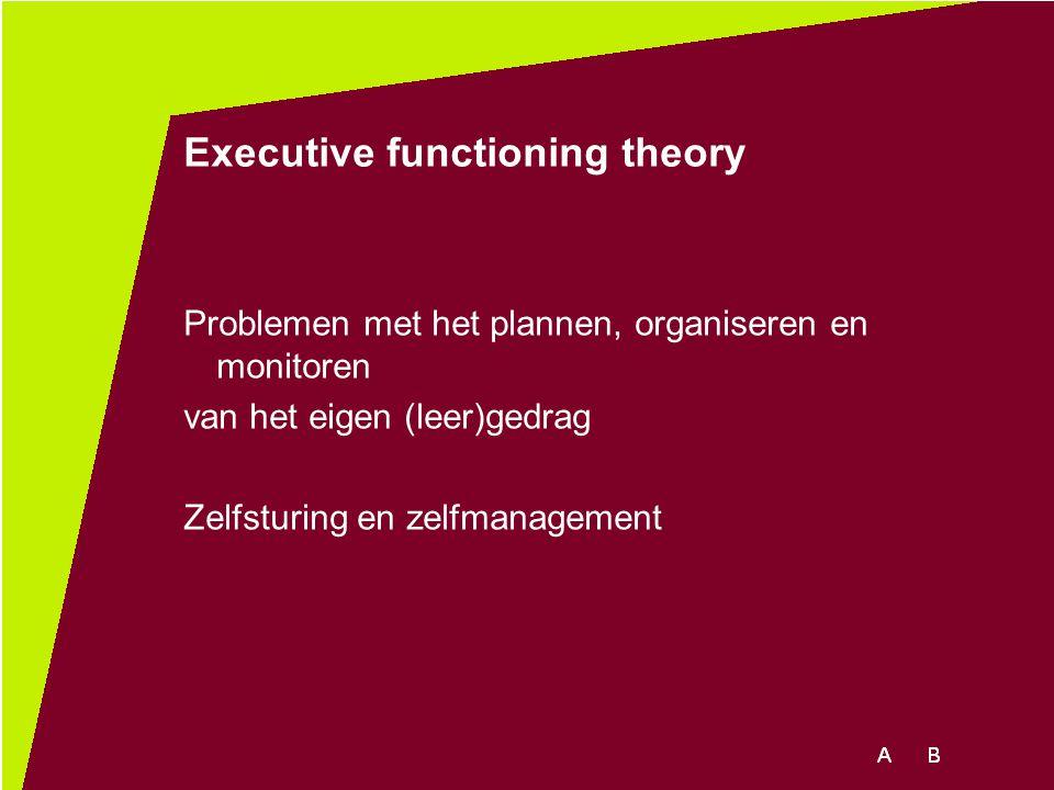 Executive functioning theory Problemen met het plannen, organiseren en monitoren van het eigen (leer)gedrag Zelfsturing en zelfmanagement