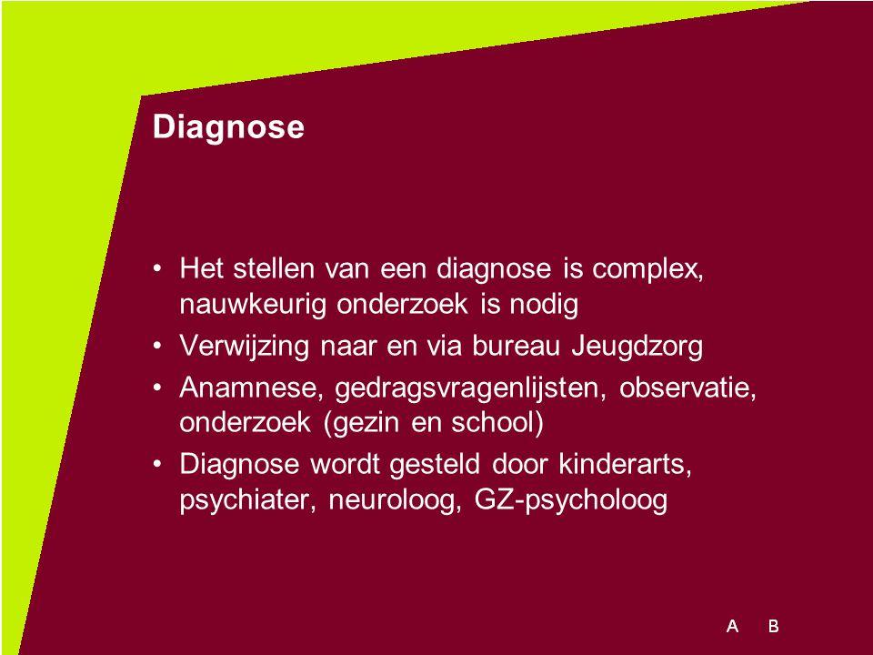 Diagnose Het stellen van een diagnose is complex, nauwkeurig onderzoek is nodig Verwijzing naar en via bureau Jeugdzorg Anamnese, gedragsvragenlijsten
