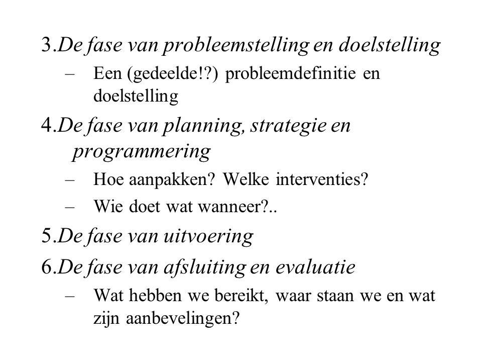 3.De fase van probleemstelling en doelstelling –Een (gedeelde!?) probleemdefinitie en doelstelling 4.De fase van planning, strategie en programmering –Hoe aanpakken.