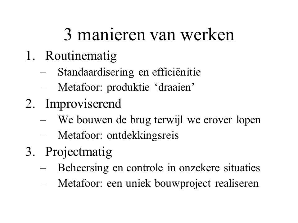 3 manieren van werken 1.Routinematig –Standaardisering en efficiënitie –Metafoor: produktie 'draaien' 2.Improviserend –We bouwen de brug terwijl we er
