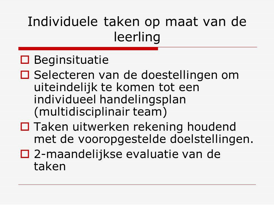 Individuele taken op maat van de leerling  Beginsituatie  Selecteren van de doestellingen om uiteindelijk te komen tot een individueel handelingspla