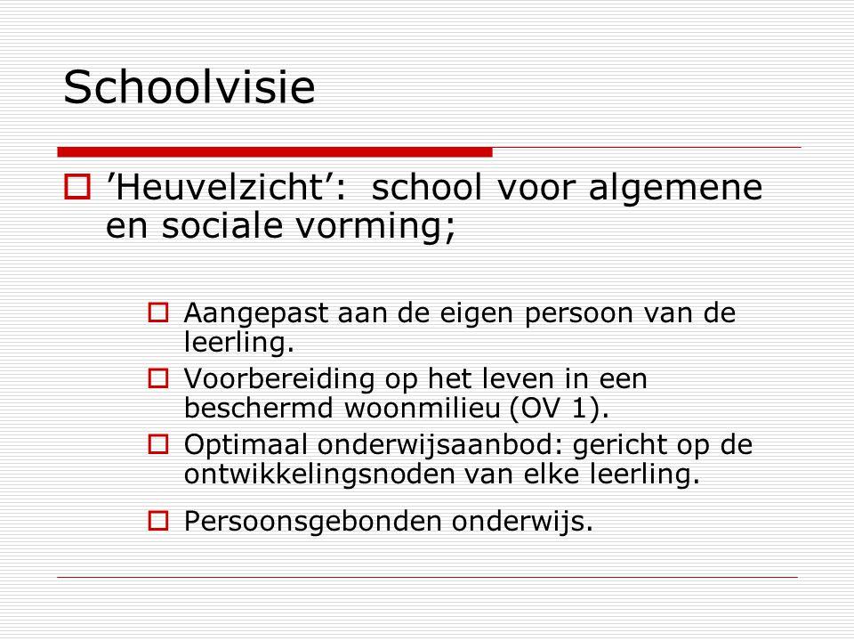 Schoolvisie  'Heuvelzicht': school voor algemene en sociale vorming;  Aangepast aan de eigen persoon van de leerling.  Voorbereiding op het leven i
