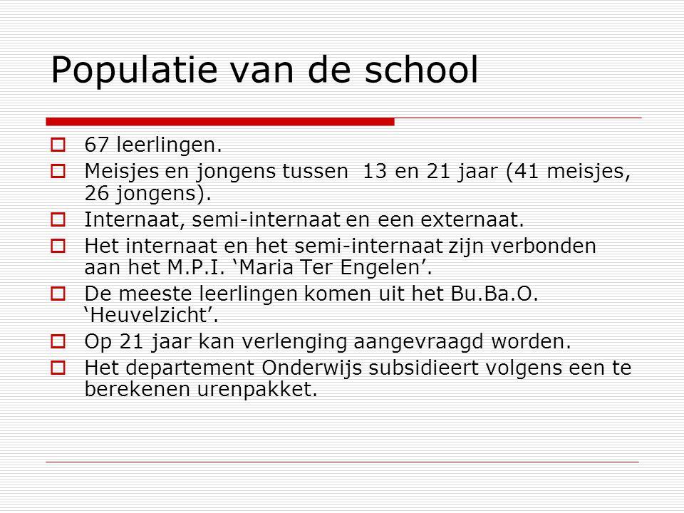 Populatie van de school  67 leerlingen.  Meisjes en jongens tussen 13 en 21 jaar (41 meisjes, 26 jongens).  Internaat, semi-internaat en een extern