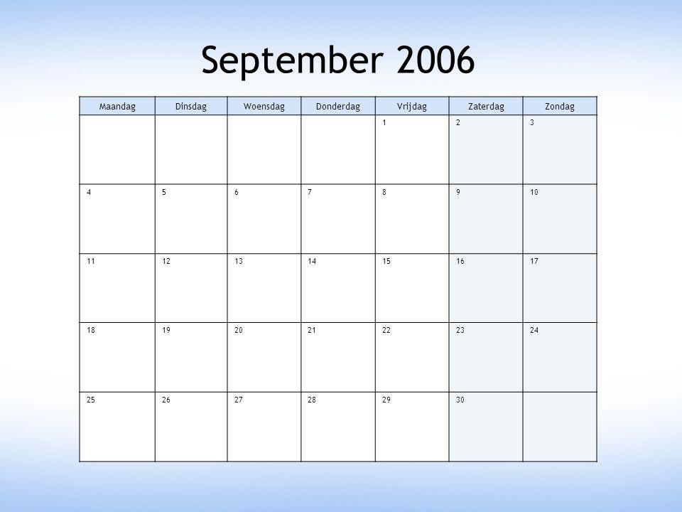 September 2006 MaandagDinsdagWoensdagDonderdagVrijdagZaterdagZondag 123 45678910 11121314151617 18192021222324 252627282930