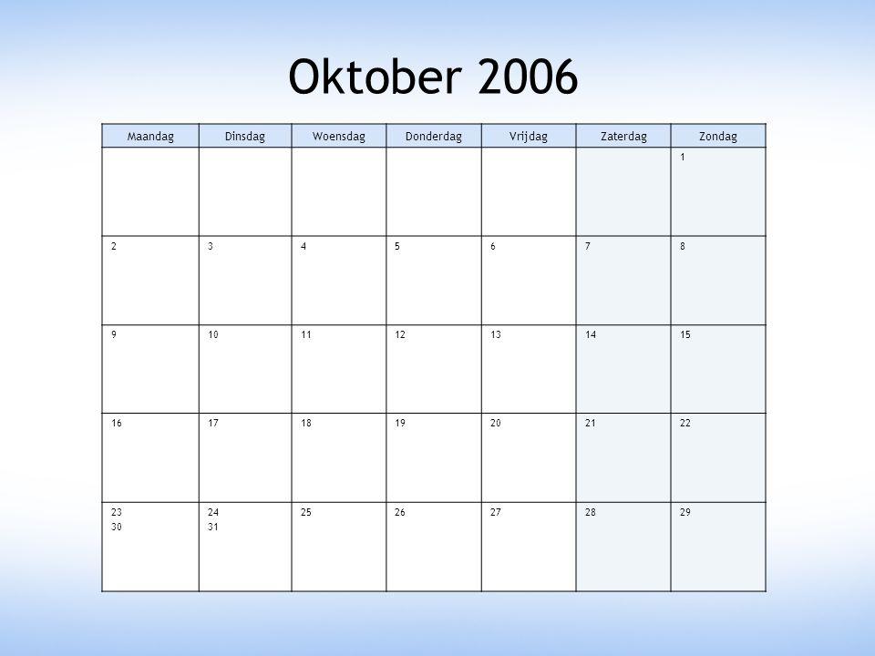 Oktober 2006 MaandagDinsdagWoensdagDonderdagVrijdagZaterdagZondag 1 2345678 9101112131415 16171819202122 23 30 24 31 2526272829