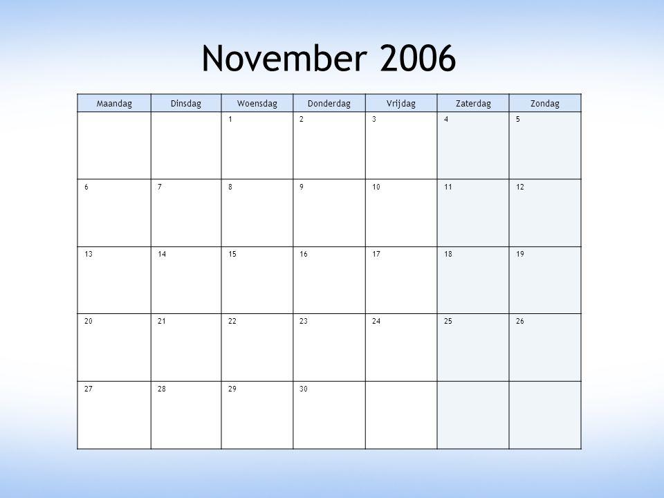 November 2006 MaandagDinsdagWoensdagDonderdagVrijdagZaterdagZondag 12345 6789101112 13141516171819 20212223242526 27282930