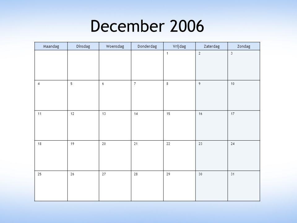 December 2006 MaandagDinsdagWoensdagDonderdagVrijdagZaterdagZondag 123 45678910 11121314151617 18192021222324 25262728293031