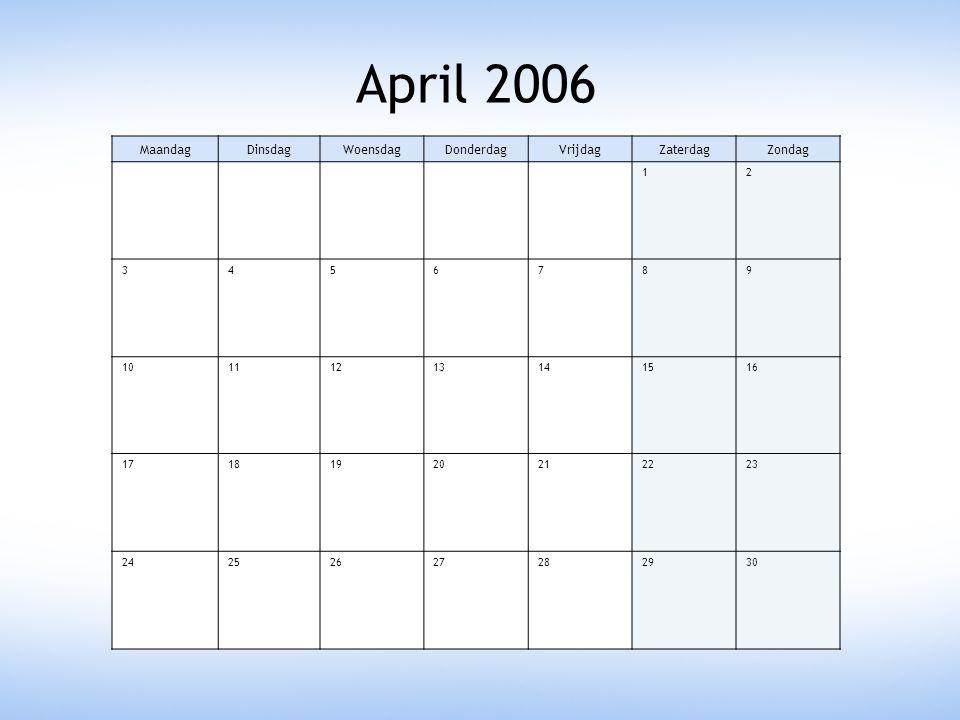April 2006 MaandagDinsdagWoensdagDonderdagVrijdagZaterdagZondag 12 3456789 10111213141516 17181920212223 24252627282930