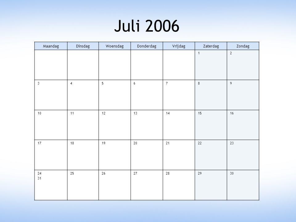 Juli 2006 MaandagDinsdagWoensdagDonderdagVrijdagZaterdagZondag 12 3456789 10111213141516 17181920212223 24 31 252627282930