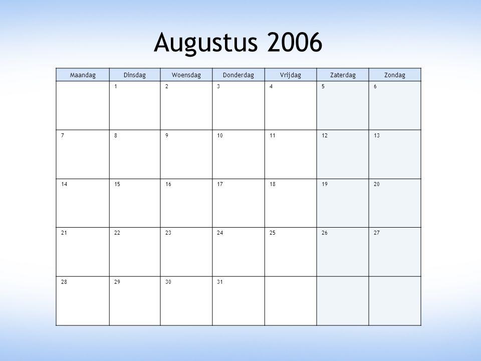 Augustus 2006 MaandagDinsdagWoensdagDonderdagVrijdagZaterdagZondag 123456 78910111213 14151617181920 21222324252627 28293031