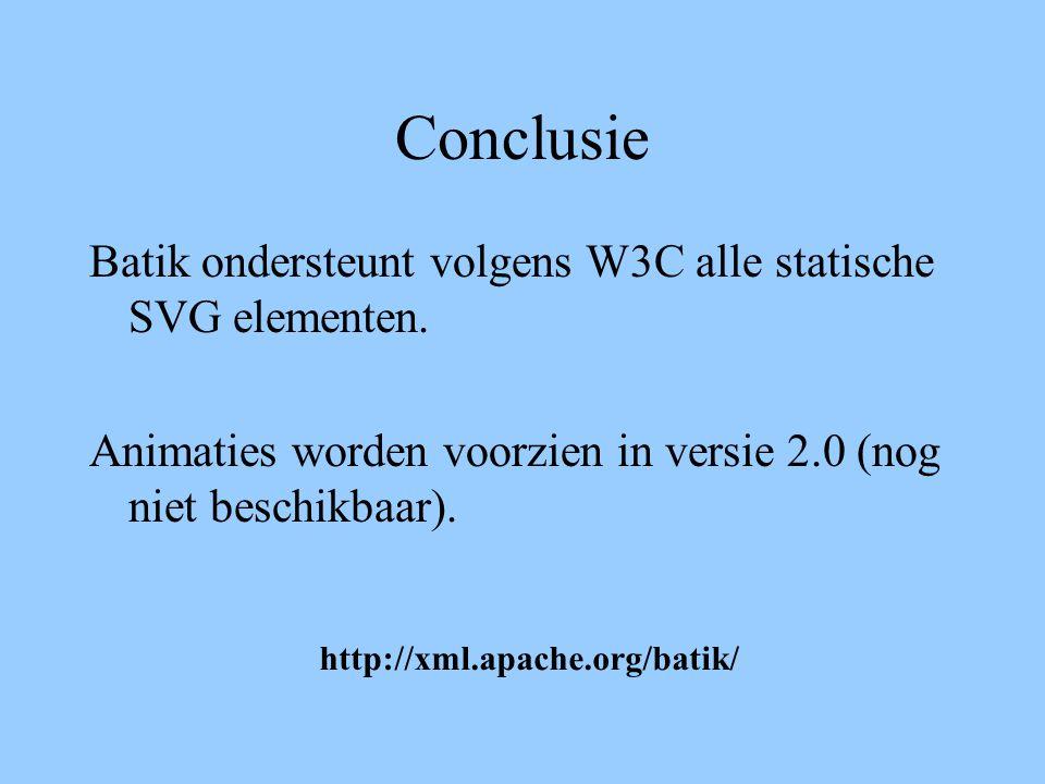 Conclusie Batik ondersteunt volgens W3C alle statische SVG elementen. Animaties worden voorzien in versie 2.0 (nog niet beschikbaar). http://xml.apach