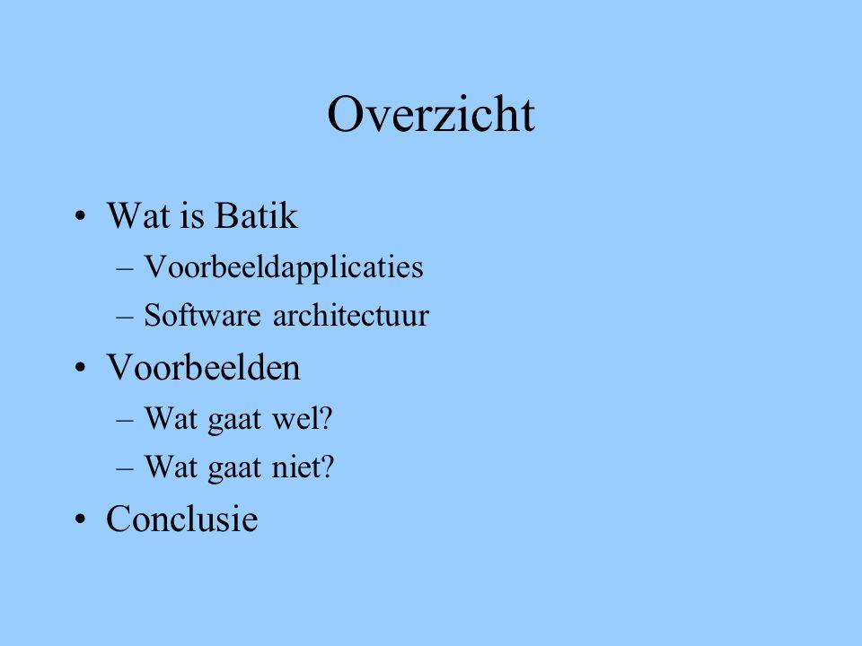 Overzicht Wat is Batik –Voorbeeldapplicaties –Software architectuur Voorbeelden –Wat gaat wel? –Wat gaat niet? Conclusie