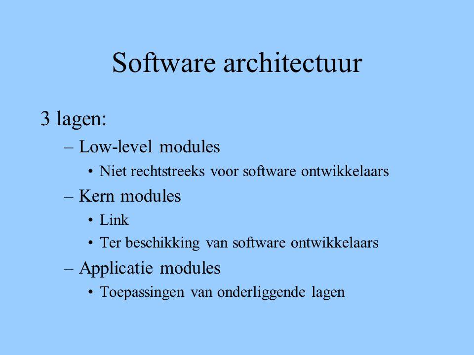 Software architectuur 3 lagen: –Low-level modules Niet rechtstreeks voor software ontwikkelaars –Kern modules Link Ter beschikking van software ontwikkelaars –Applicatie modules Toepassingen van onderliggende lagen