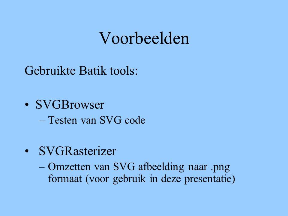 Voorbeelden Gebruikte Batik tools: SVGBrowser –Testen van SVG code SVGRasterizer –Omzetten van SVG afbeelding naar.png formaat (voor gebruik in deze p