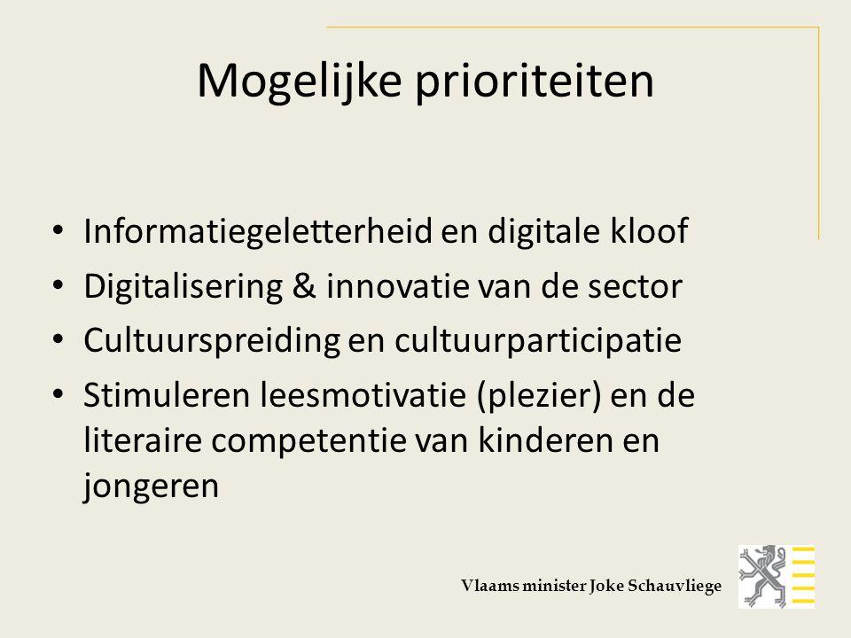 Mogelijke prioriteiten Informatiegeletterheid en digitale kloof Digitalisering & innovatie van de sector Cultuurspreiding en cultuurparticipatie Stimuleren leesmotivatie (plezier) en de literaire competentie van kinderen en jongeren Vlaams minister Joke Schauvliege