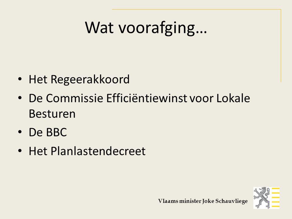 Wat voorafging… Het Regeerakkoord De Commissie Efficiëntiewinst voor Lokale Besturen De BBC Het Planlastendecreet Vlaams minister Joke Schauvliege